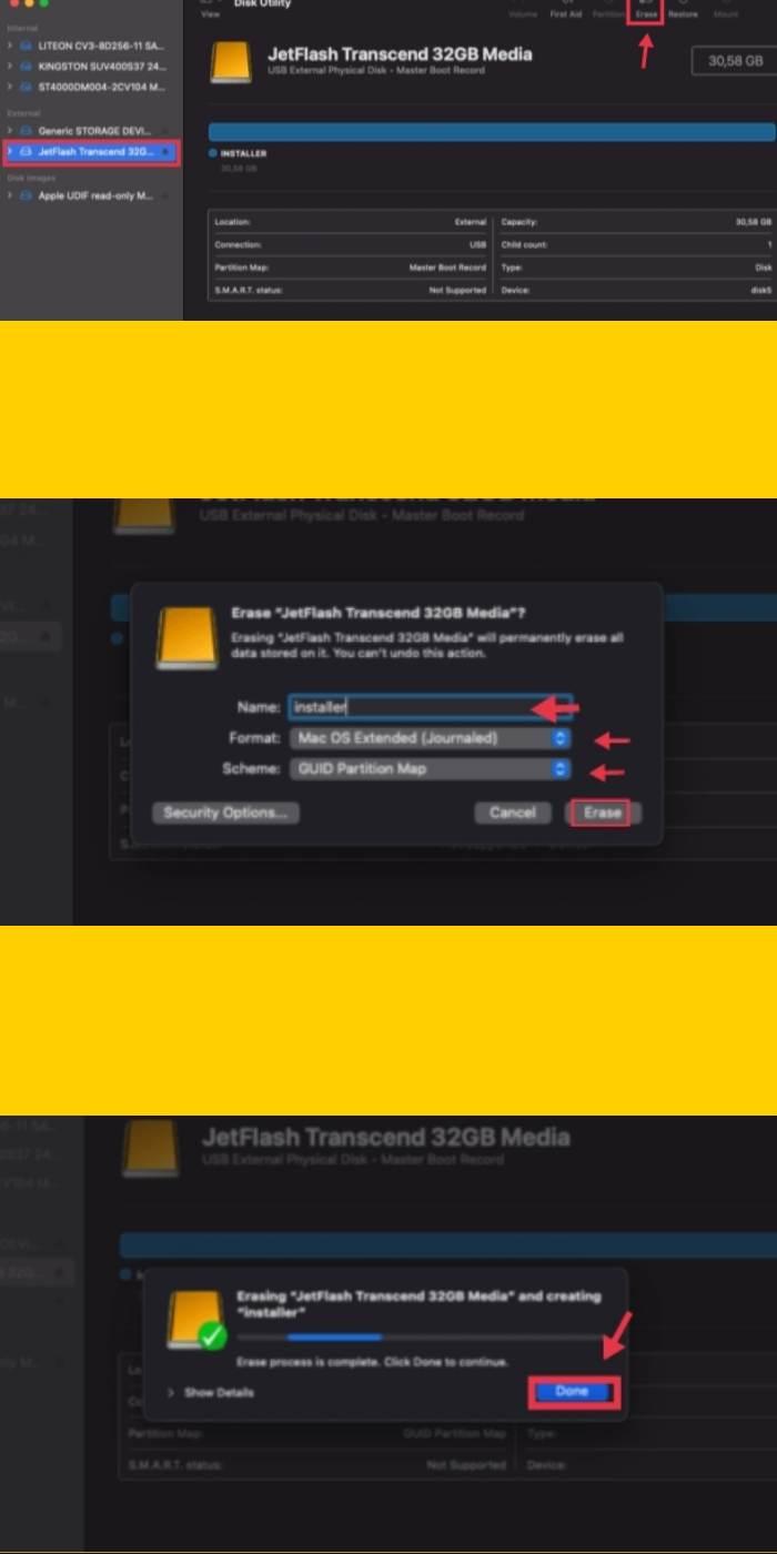 Erasing USB to make it ready for macOS Monterey Installer