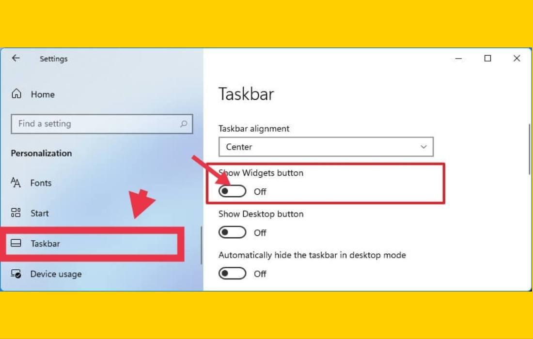 Remove Widgets From Taskbar Settings