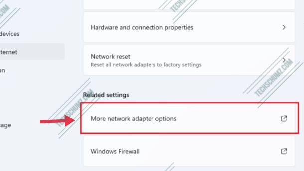 Click on More network adapter options